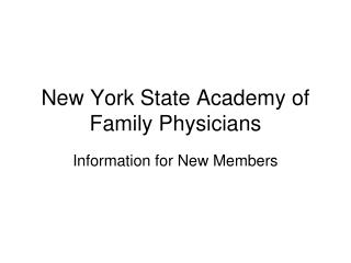 New York State Academy of Family Physicians