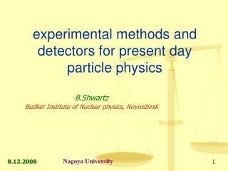 experimental methods and detectors for present day particle physics