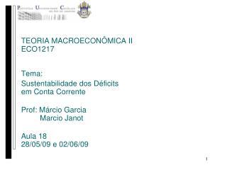 TEORIA MACROECONÔMICA II ECO1217 Tema: Sustentabilidade dos Déficits  em Conta Corrente