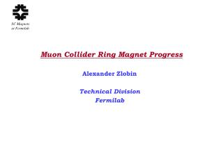 Muon Collider Ring Magnet Progress