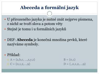 Abeceda a formální jazyk
