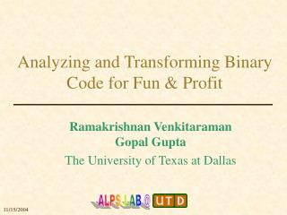 Analyzing and Transforming Binary Code for Fun & Profit