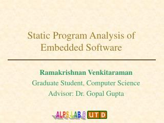 Static Program Analysis of Embedded Software