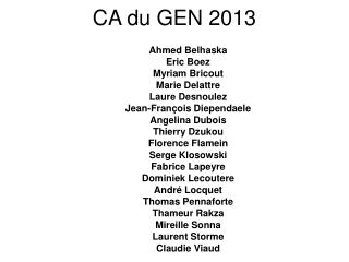 CA du GEN 2013