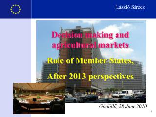 Decision making and agricultural markets Role of Member States,  After 2013 perspectives