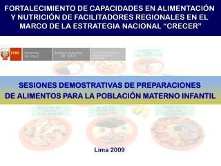 SESIONES DEMOSTRATIVAS DE PREPARACIONES  DE ALIMENTOS PARA LA POBLACIÓN MATERNO INFANTIL
