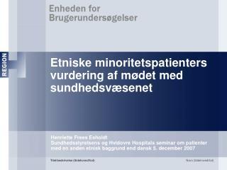 Etniske minoritetspatienters vurdering af m�det med sundhedsv�senet