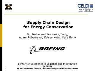 Supply Chain Design  for Energy  Conservation