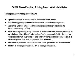 CAPM, Diversification, & Using Excel to Calculate Betas