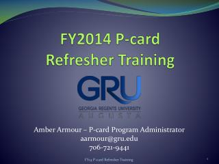 FY2014 P-card  Refresher Training