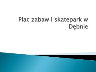 Plac zabaw i  skatepark  w D?bnie