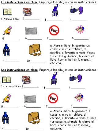 Las instrucciones en clase : Empareja los dibujos con las instrucciones