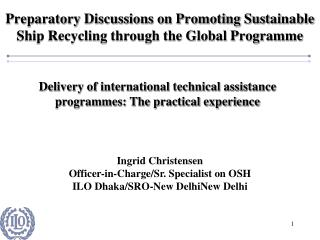 Preparatory Discussions on Promoting Sustainable Ship Recycling through the Global Programme