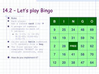 14.2 – Let's play Bingo