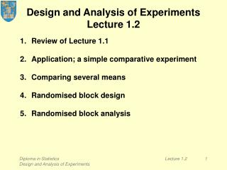 Design and Analysis of Experiments Lecture 1.2