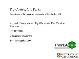 D J Coates, G T Parks  Department of Engineering, University of Cambridge, UK