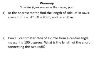 Warm-up Draw the figure and solve the missing part.