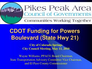 CDOT Funding for Powers Boulevard State Hwy 21