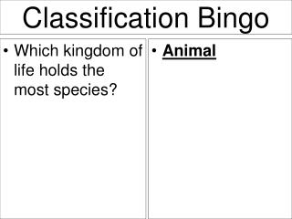 Classification Bingo