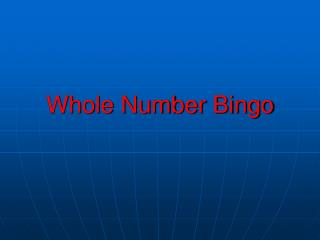 Whole Number Bingo