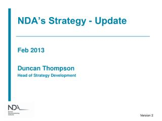 NDA's Strategy - Update