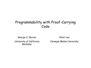 Programmability with Proof-Carrying Code