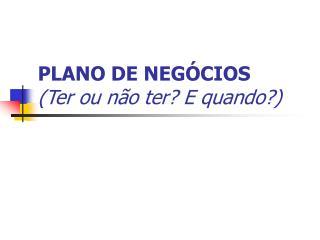 PLANO DE NEGÓCIOS (Ter ou não ter? E quando?)