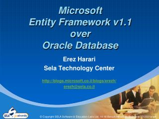 Microsoft Entity Framework v1.1 over Oracle Database