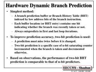 Hardware Dynamic Branch Prediction