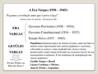 A Era Vargas (1930 – 1945):