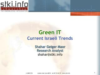 Green IT Current Israeli Trends
