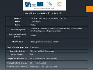 Identifikátor materiálu: EU – 14  - 12