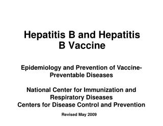 Hepatitis B and Hepatitis B Vaccine