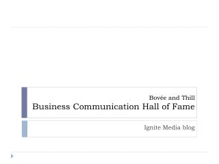 Bovée and Thill Business Communication Hall of Fame