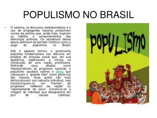 POPULISMO NO BRASIL