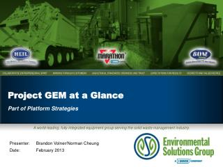 Project GEM at a Glance