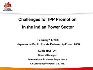 Challenges for IPP Promotion  in the Indian Power Sector
