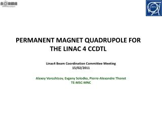 PERMANENT MAGNET QUADRUPOLE FOR THE LINAC 4 CCDTL