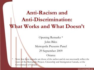 Anti-Racism and  Anti-Discrimination:  What Works and What Doesn't