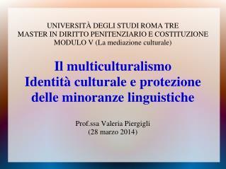 UNIVERSITÀ DEGLI STUDI ROMA TRE MASTER IN DIRITTO PENITENZIARIO E COSTITUZIONE