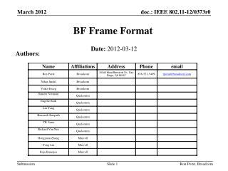 BF Frame Format