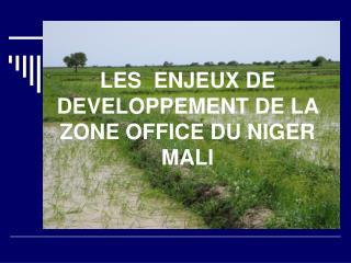 LES  ENJEUX DE DEVELOPPEMENT DE LA ZONE OFFICE DU NIGER MALI