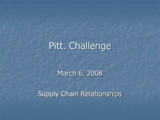 Pitt. Challenge