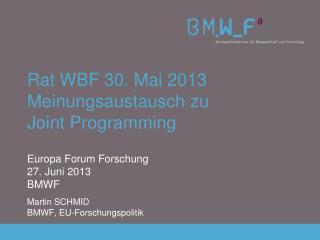 Rat WBF 30. Mai 2013 Meinungsaustausch zu Joint Programming