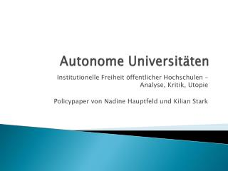 Autonome Universitäten