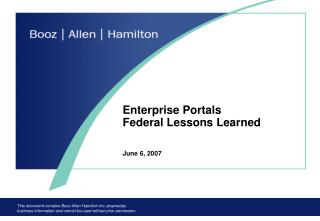 Enterprise Portals  Federal Lessons Learned June 6, 2007
