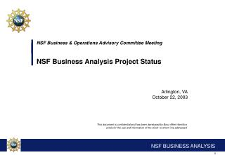 NSF Business & Operations Advisory Committee Meeting NSF Business Analysis Project Status