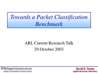 Towards a Packet Classification Benchmark