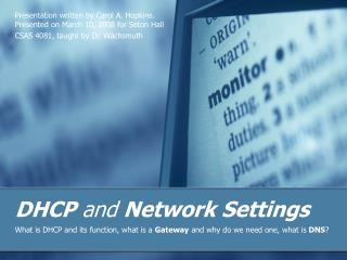 DHCP and Network Settings