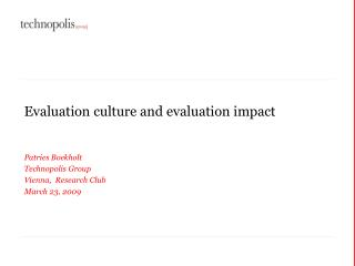 Evaluation culture and evaluation impact